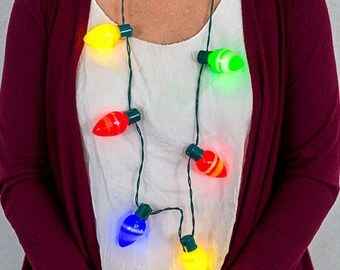 3 Sets Christmas Lights Necklaces 6-Retro Bulbs Battery-Operated  Brand New!