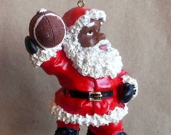 African American Santa Throwing a Football Pass Christmas Ornament VGC