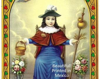Santo Nino de Atocha  Lithograph Catholic Art Print Mexico 8x10  Beautiful!
