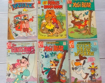6 Hanna Barbera Yogi Bear, Quick Draw McGraw, Flintstones Parade Comics All Very Clean and Intact