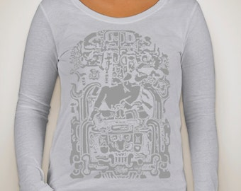 Mayan Scoop Neck Long Sleeve T-Shirt