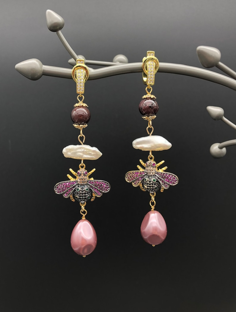 Pearls and Shell Beads Earrings with Cubic Zirconia Bees Natural Garnet Beads