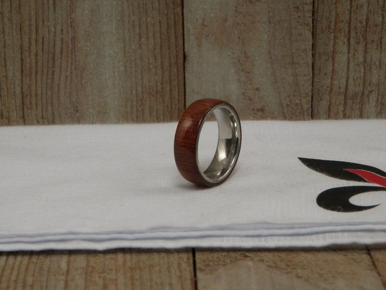 Size 12 x 8 MM African Bloodwood Ring with Stainless Steel Core