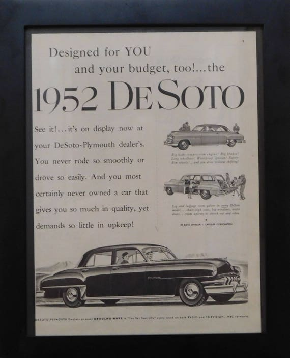 1955 Black /& White Desoto Fireflite Vintage Classic Car Wall Art Framed Picture