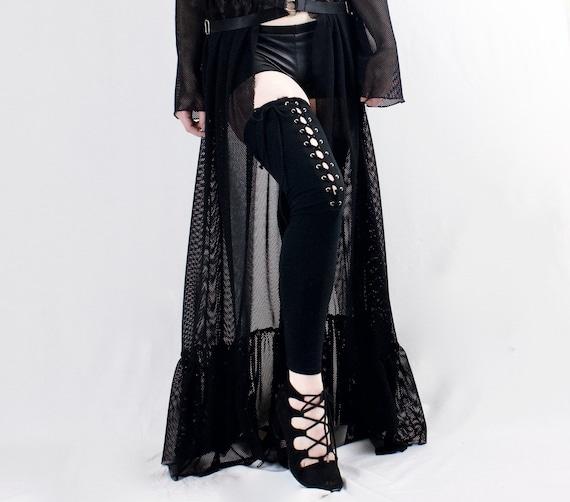 de4ee5d6e6b42 Laced goth leg warmers black thigh highs stockings goth   Etsy