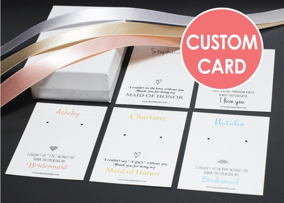 custom earring cards with box bridesmaid earring cards with etsy