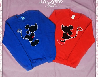 e56c3193a3 Mickey and Minnie Kissing Unisex Couples crewneck - Wifey Hubby - King  Queen - crewneck for Her - Unisex crewneck