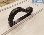 Rustic Door Handle-Barn Door Handle-Metal Black Heavy Duty Cabinet Handle-Reclaimed Railroad Hardware-Includes Mounting Screws