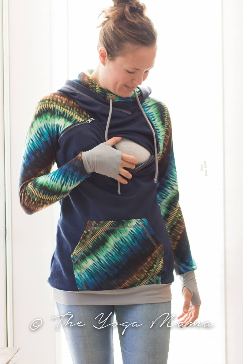 192810e9e1 Handmade Nursing Hoodie - Breastfeeding Friendly - Double Hood - Thumbhole  cuff - Tunic Length - Navy Quilted Knit - Diagonal Ocean Tie Dye