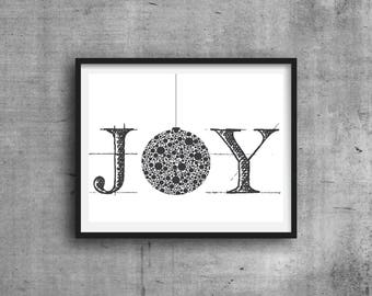 JOY Christmas Print, Digital Print, Digital Art, Christmas Digital Print