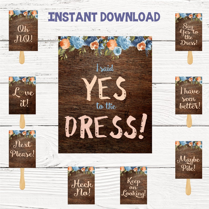 Say Yes To The Dress Signs I Said Yes To The Dress Paddles Etsy