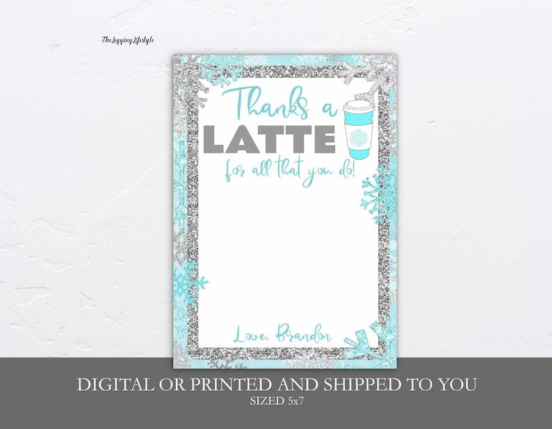 digital or printed Coffee Christmas Gift Card Holder Thanks A Latte gift card holder Teacher Christmas Gifts Coffee Gift Card Holder