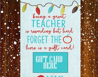 Teacher gift card holder, Coffee Christmas Gift Card Holder, Teacher Christmas Gifts,  Gift Card Holder, digital or printed