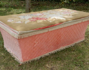 Very Feminine Victorian Ottoman with Embroidered top in need of a little TLC