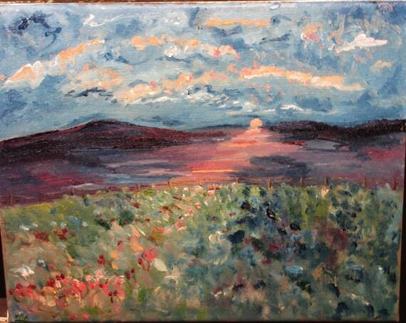 Hidden Flowers,10x8. (Original, Oil, Landscape, Impression, Sunset,flowers,red,maxwellbrown)