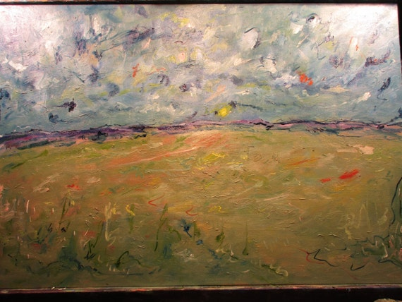 Sun will Rise, 36x24in     ( Original Oil Painting , Impressionism, Landscape . Custom, Wild, Western, Fieldland)