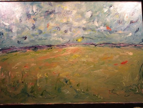 Sun will Rise, 36x24in     ( Original Oil Painting , Impressionism, Landscape . Custom, Wild, Western, Fieldland)