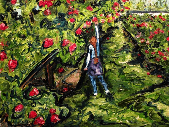 "These days now, we must savor"" 10x8""   (Art,original,painting,oil,maxwellbrown,custom,orchard,apples,girl,ponytail)"