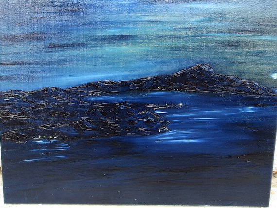 Moon rise,14x11in. (art,painting,nighttime,water,ocean,land,dark,moon,mountains,original,custom,maxwellbrown,landscape)