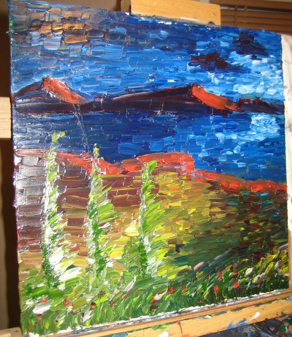 Windy day,14x14 (art,original,custom,painting,oil,thick,impression,landscape,mtns,trees,water,wind,maxwellbrown)