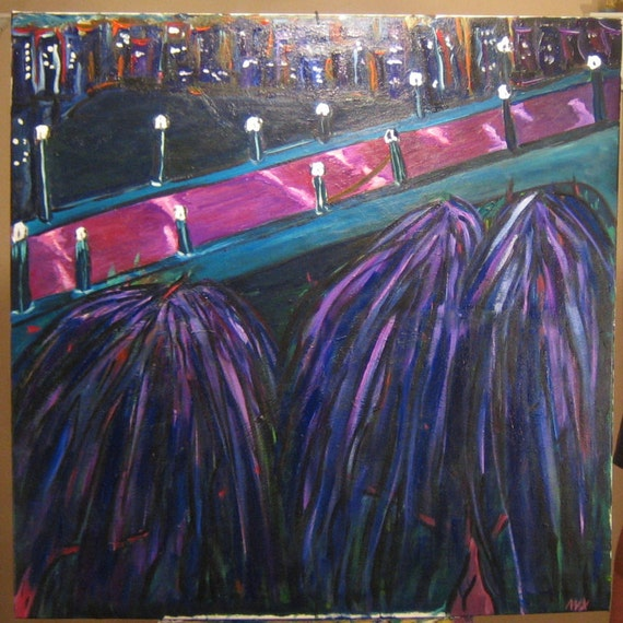 Bike Ride,48x36In. (Abstract,city,bridge,water,trees,impression,large,original,custom,painting,blue,purple)
