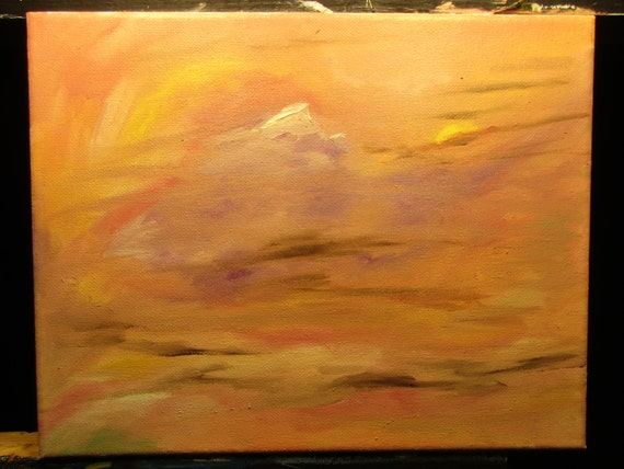 Glimpse of the peark, 10x8in. (Original,painting,custom,maxwellbrown,oil,mountain,surreal,impression,landscape,bright,orange)