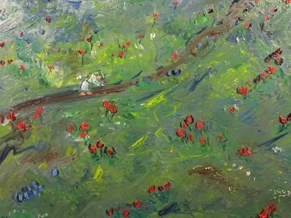 Effortless day of grace,18x12. (Original,art,oil,flowers,woman,green,maxbrown,landscape,impression)
