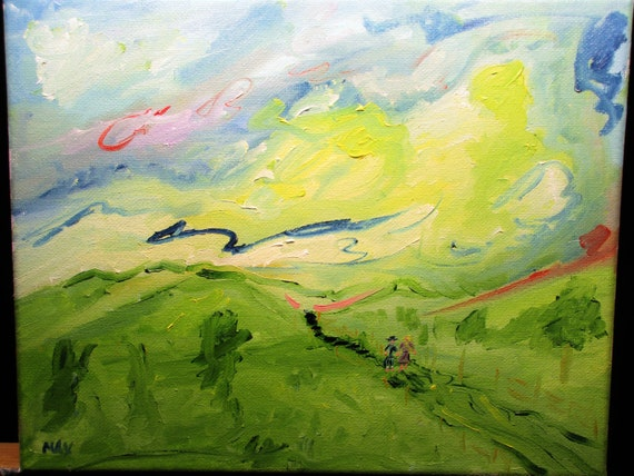 A walk in the clouds, 10x8 . (art,original,painting,custom,landscape,romance,love,yellow,impression,maxwellbrown,oil)