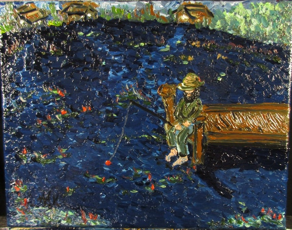Homeless Joe,the fisherman 10x8 (art,original,oil,canvas,fishing,beard,small,custom,dock,lake,water,texture,painting)