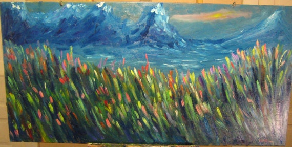 "Mountain Flowers,48x24"". ( art,original,custom,oil,painting,maxwellbrown,mountains,nature,landscape,impression,expression)"