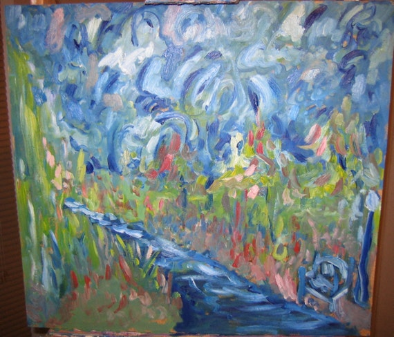 My evening Jog, 20x20In. (Original,impression,blue,park,path,bench,trees,sky)