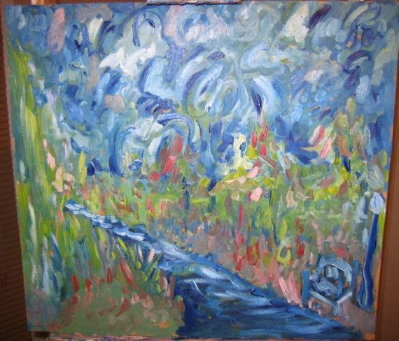 My evening Jog, 20x20In. (Original,impression,blue,park,path,bench,trees,sky)