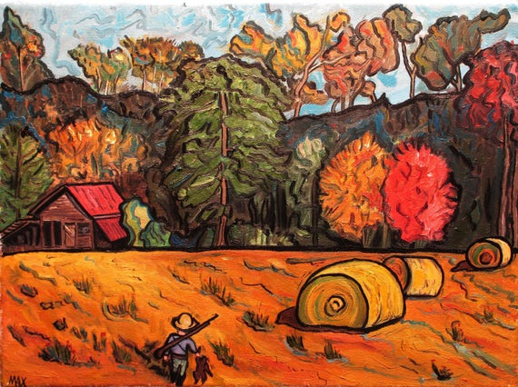 MA said, they was monsters in the barn .  12x9Inch       (Country kid, Barn, Field, Hay Bales, Young cowboy. , BB Gun, Stuffed animal)