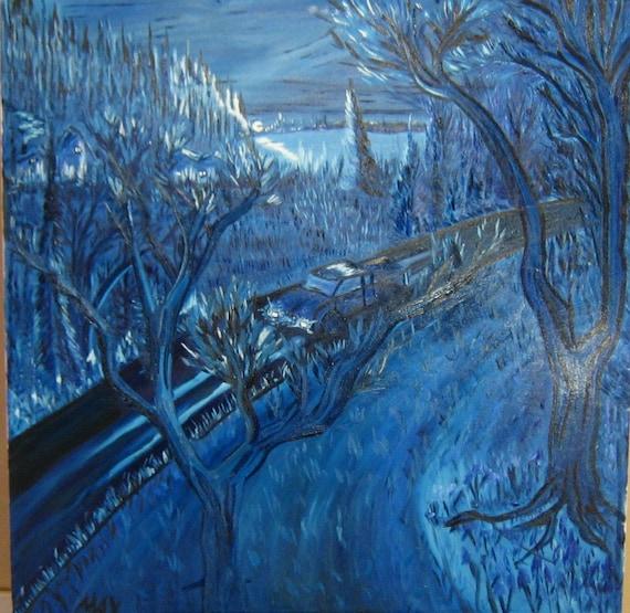 Twilight Drive, 48x36in. (art,painting,original,oil,custom,night,maxwellbrown,blue,truck,trees,romantic)