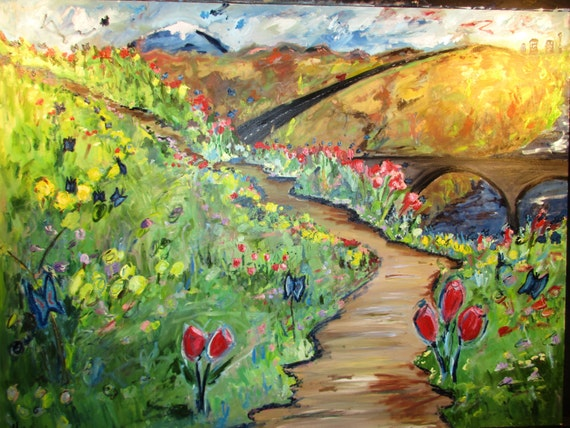 Spokane Spring 40x30 (Art,painting,oil,spring,impression,original,bright,landscape,spokane,wa,custom)