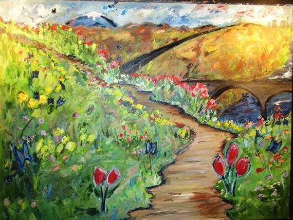Spokane Spring 40x30 (Art,painting,oil,spring,impression,original,bright,landscape,spokane,wa,custom)