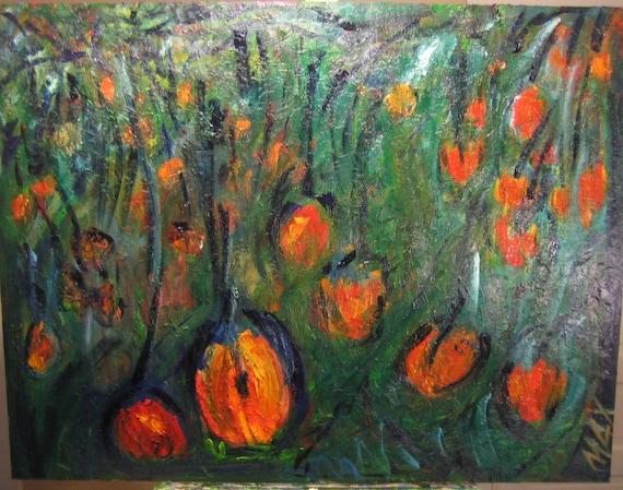 Hanging Cherries,36x36in. (Impression,fruit,contrast,original,orange)