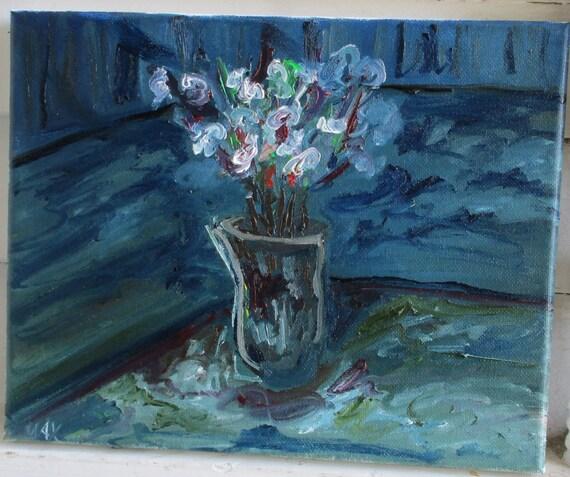White Flowers 12x10 (Art,original,flowers,impression,white,oil,custom,vase)