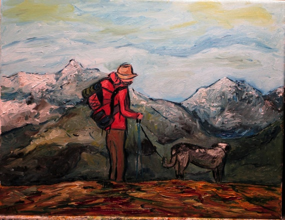 "His greatest gifts the commonest"" 14x11"" (Art, original,Dog,hiking,mountains,backpack,adventure,leash)"