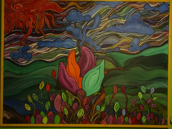 Quest for the Top, 36x48. (Art,original,flowers,vines,nature,colors,bright,acrylic,large,abstract,story,maxwellbrown,custom,painting)