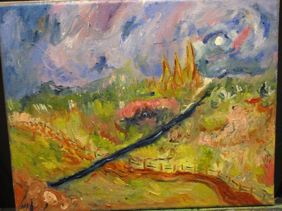 "Two sides, 10x8"". (art,original,painting,field,landscape,path,fence,oil,custom,maxwellbrown)"