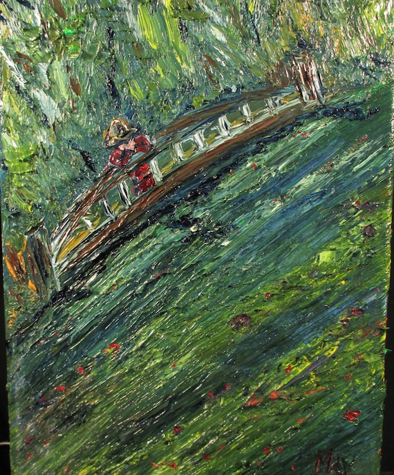 Reflective Water,Monet'sPond.(12x9) Art,original,custom,water,vibrant,flowers,plants,nature,bridge,man,expressionism,impression)