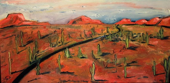 "Arizona, Drive"".   Cactus Painting.  2Ftx1ft."