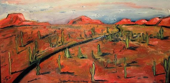 "Arizona, Drive"".   Cactus Painting.  2Ftx1ft."