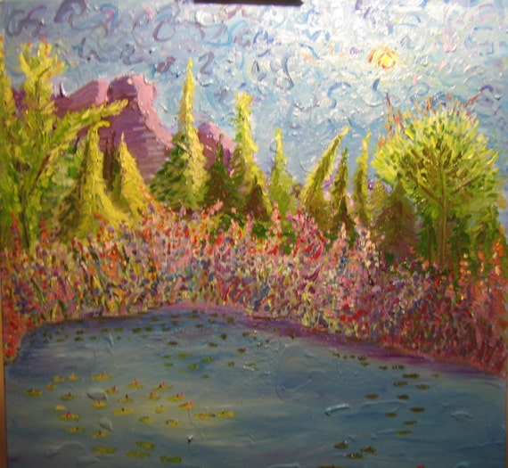 Pond 24x24(Art,painting,landscape,water,original,oil)