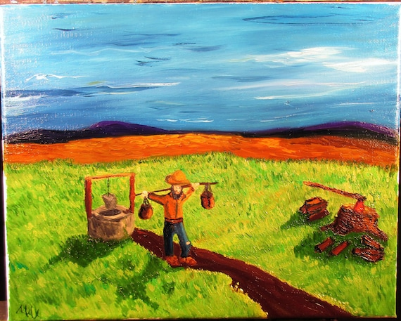 Solitary work, 10x8. (art,original,custom,maxwellbrown,field,work,man,hat,mountains,grass,oil,painting,ax,firewood)