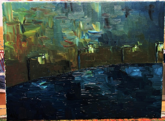 Ocean boardwalk 12x9 (Art,original,painting,oil,blue,abstract,impression,maxbrown)