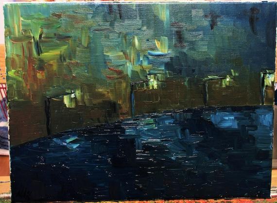 Ocean boardwalk 12x9 (Art,original,painting,oil,blue,abstract,impression,maxbrown)