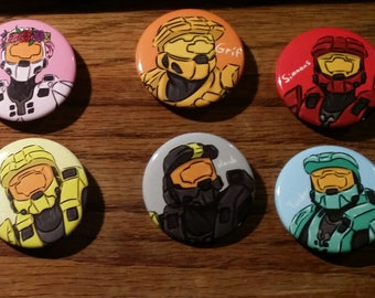 """Red vs Blue - The Reds and Blues - 10 1.5"""" Pins"""