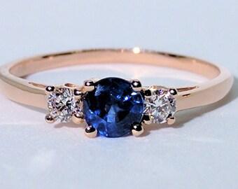 Three-Stone Blue Sapphire Diamond Ring| Blue Sapphire Ring| Diamond Ring| Engagement Ring| 18k Gold Ring| Rose Gold Ring| Anniversary Gift